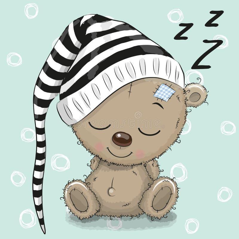 Schlafender netter Teddy Bear in einer Haube stock abbildung