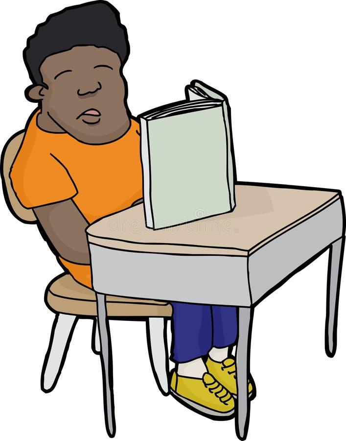 Schlafender Student am Schreibtisch stock abbildung