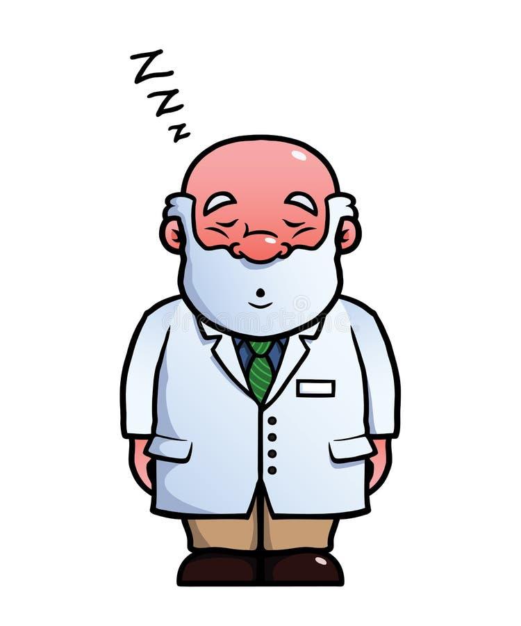 Schlafender und schnarchender Wissenschaftler vektor abbildung