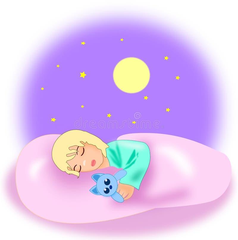 Schlafendes kleines Mädchen lizenzfreie abbildung