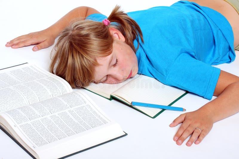 Schlafendes Kursteilnehmermädchen stockfotos
