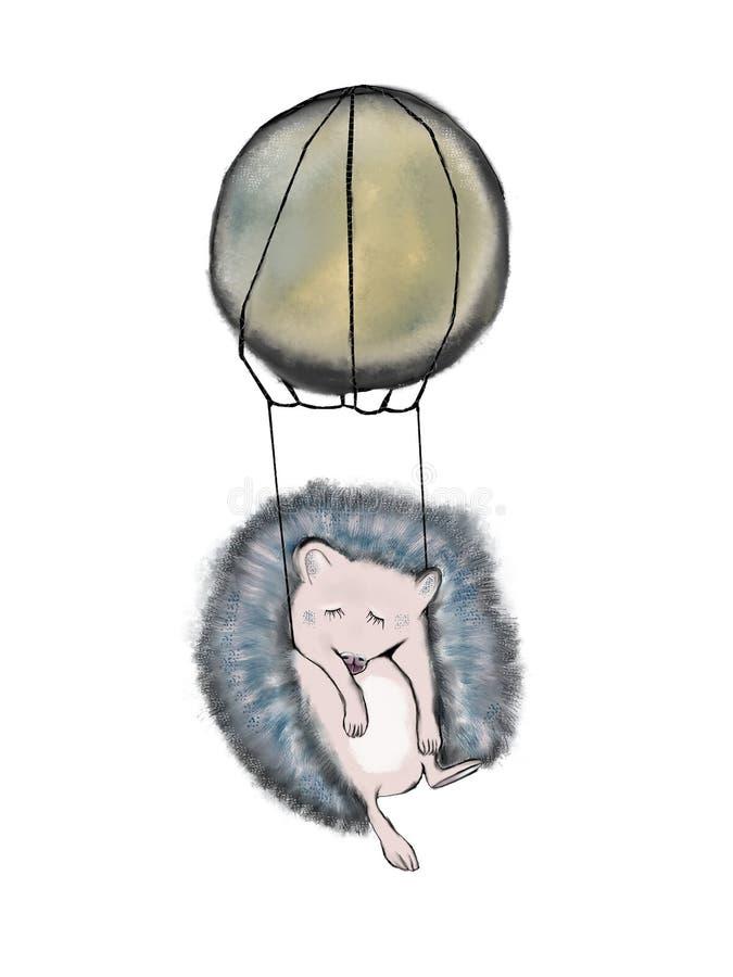 Schlafenigeles hängt in einem Luftballon vektor abbildung