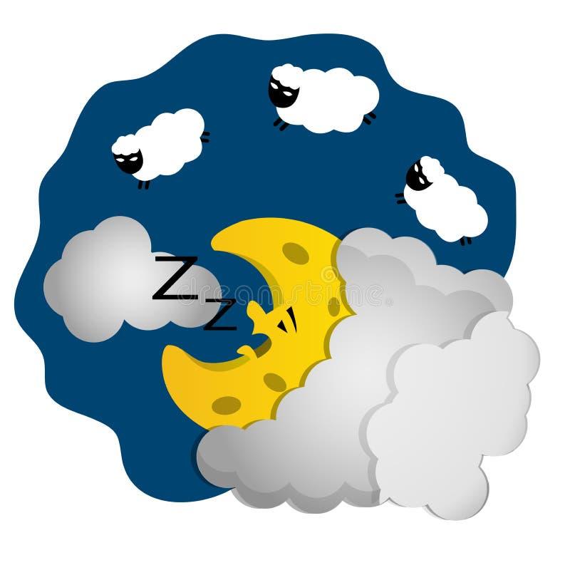 Schlafenkarikatur Crescent Moon stock abbildung