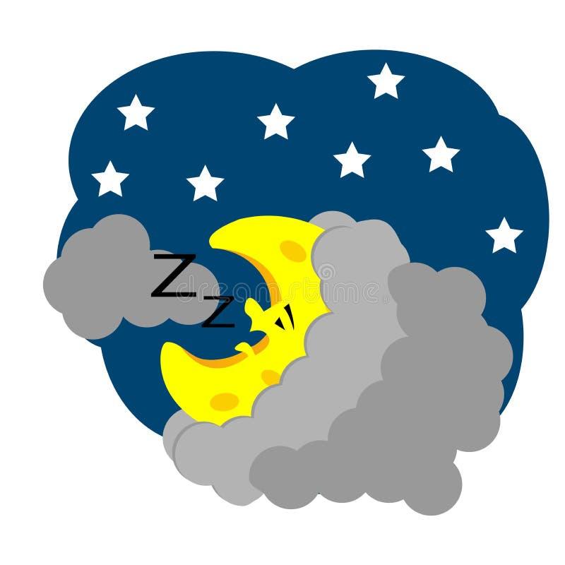 Schlafenkarikatur Crescent Moon Auch im corel abgehobenen Betrag vektor abbildung