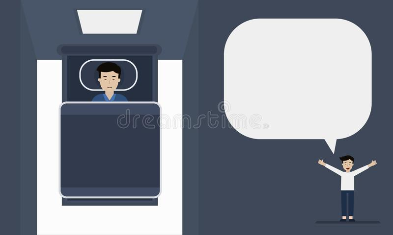 Schlafenmannkarikatur-Informationsgraphik lizenzfreie abbildung