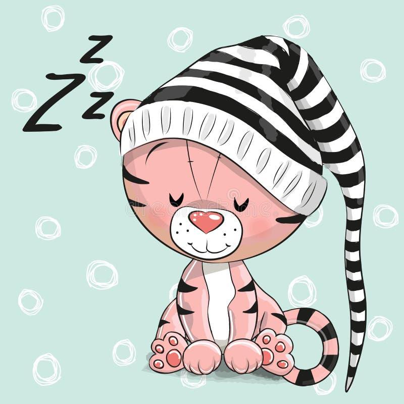 Schlafennetter Tiger in einer Haube stock abbildung