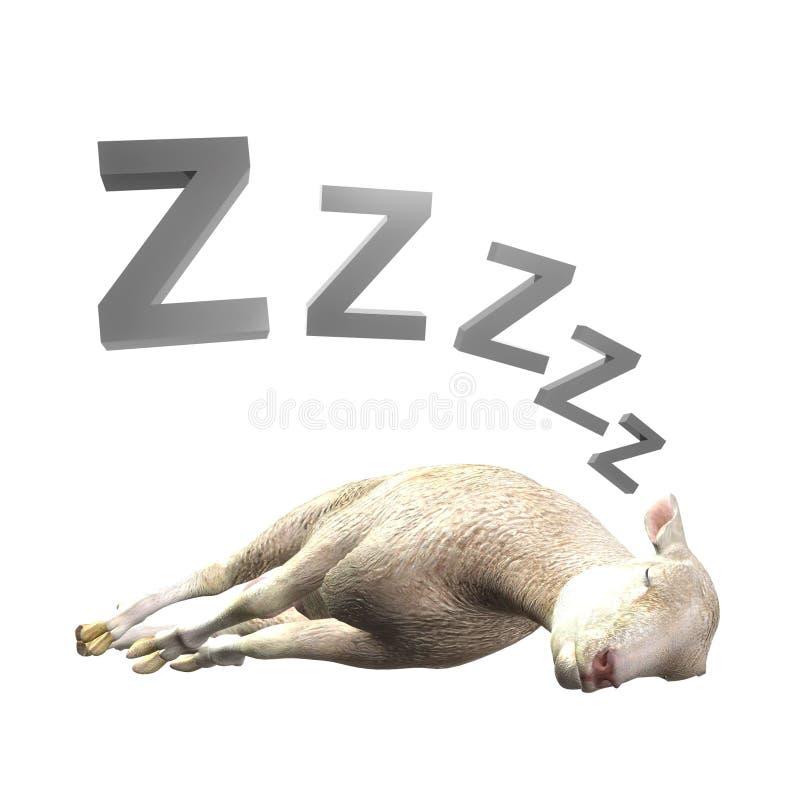 Schlafenschaf- oder -lammabbildung vektor abbildung