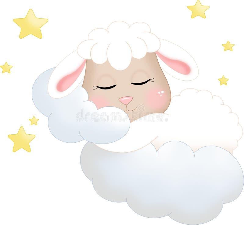 Schlafenschafe auf Wolken lizenzfreie abbildung