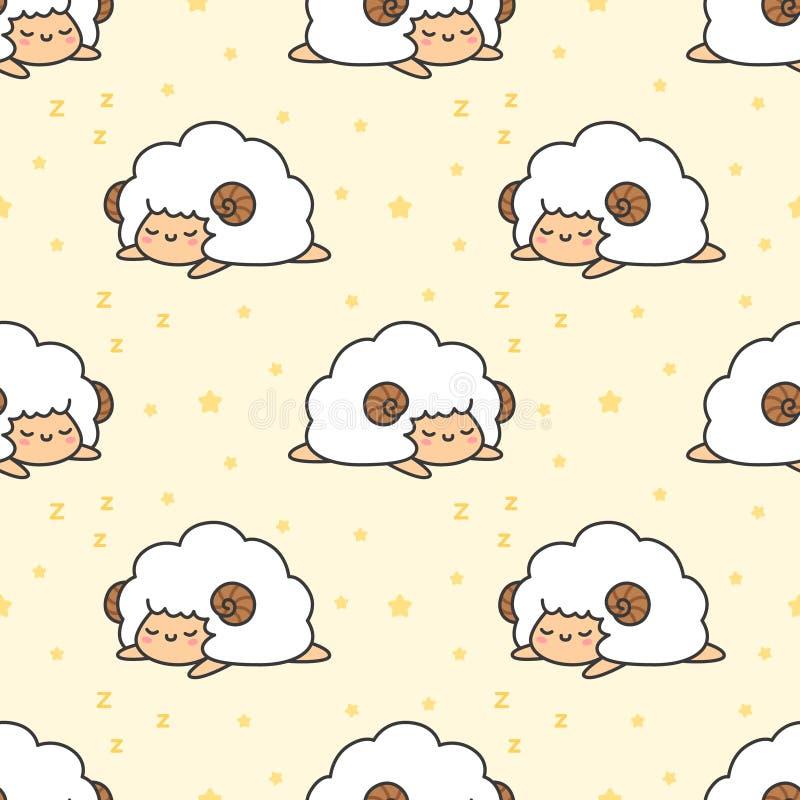 Schlafenschafe nahtloser Muster-Hintergrund stock abbildung