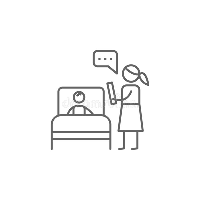 Schlafenszeit, Mutter, Buchikone Element der Familienlebenikone D?nne Linie Ikone f?r Websitedesign und Entwicklung, APP-Entwickl vektor abbildung