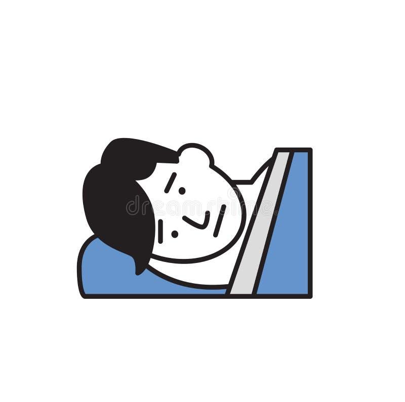 Schlafloser junger Mann, der im Bett liegt schlaflosigkeit Karikaturdesignikone Flache Vektorillustration Getrennt auf weißem Hin stock abbildung