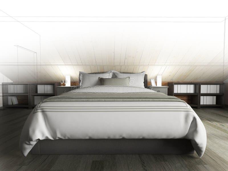 Schlafzimmer auf einem dunklen Boden gegen eine h?lzerne Wand Wiedergabe 3d vektor abbildung