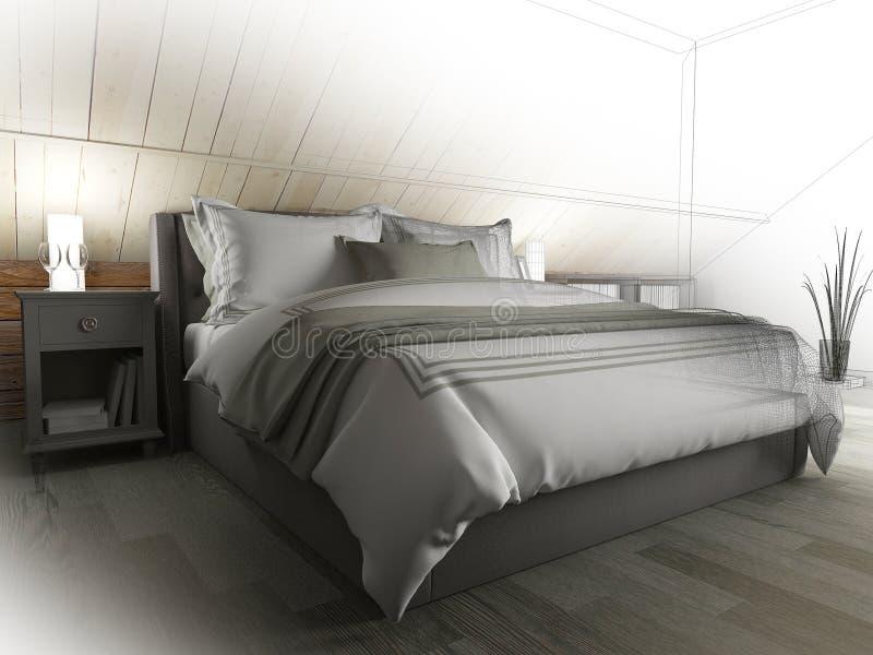 Schlafzimmer auf einem dunklen Boden gegen eine h?lzerne Wand Wiedergabe 3d lizenzfreie abbildung