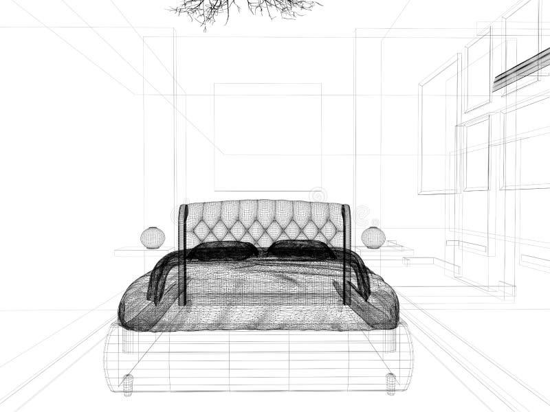 Schlafzimmer in einem modernen Innenraum in den hellen Farben 3 d-Wiedergabe vektor abbildung