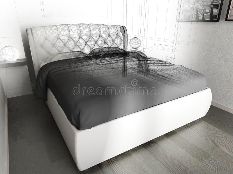 Schlafzimmer in einem modernen Innenraum in den hellen Farben 3 d-Wiedergabe stock abbildung