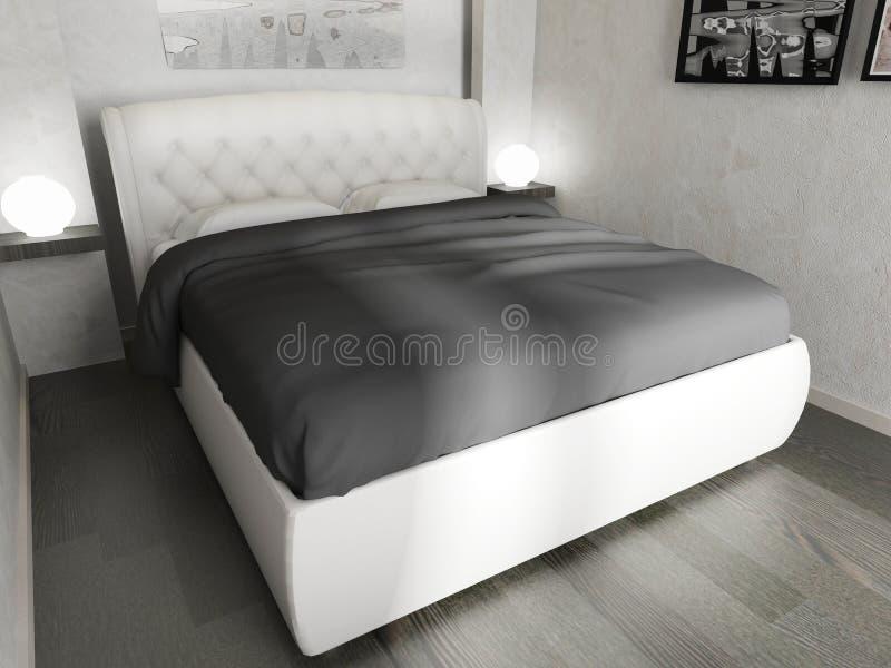 Schlafzimmer in einem modernen Innenraum in den hellen Farben 3 d-Wiedergabe lizenzfreie abbildung
