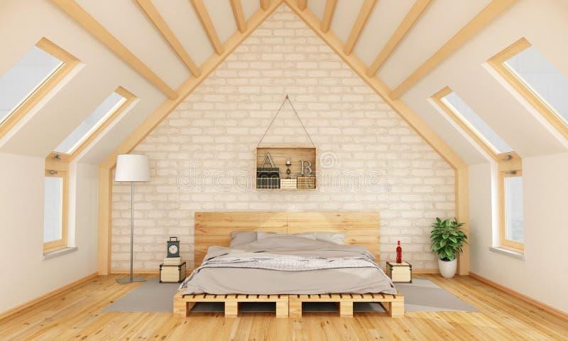 Schlafzimmer im Dachboden lizenzfreie abbildung
