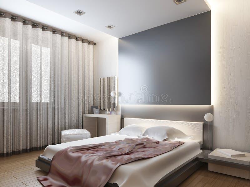 Schlafzimmer im orientalischen Artlicht mit den roten und gelben Blumen stock abbildung