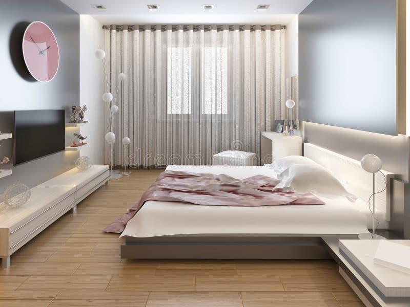 Schlafzimmer im orientalischen Artlicht mit den roten und gelben Blumen lizenzfreie stockfotos
