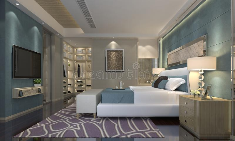 Schlafzimmer-Innen-Illustration 3D stock abbildung