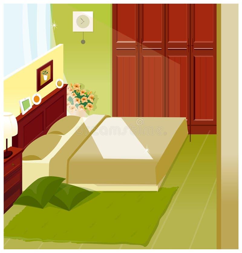 Schlafzimmer-Innenraum lizenzfreie abbildung