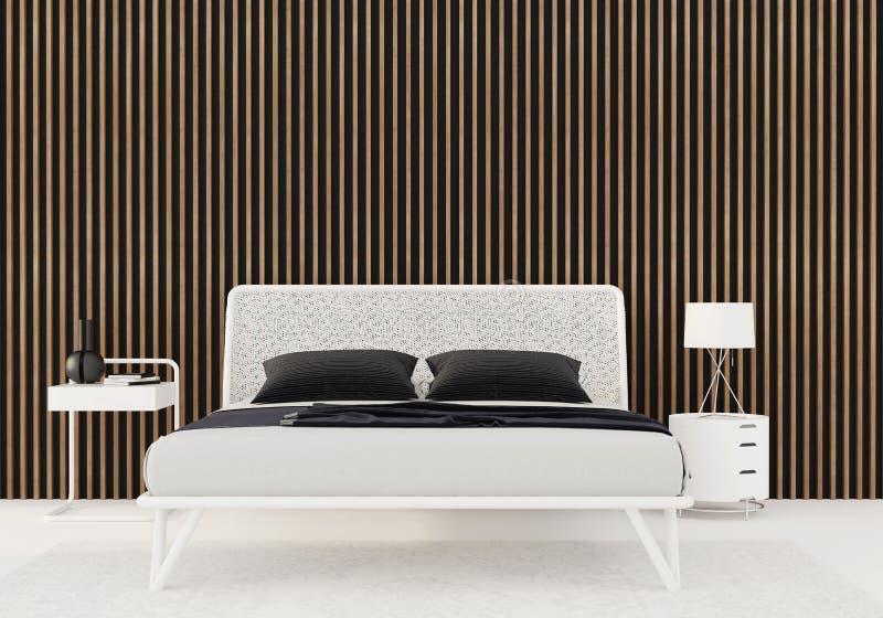 Schlafzimmer mit hölzernen Latten auf der Wand lizenzfreie abbildung