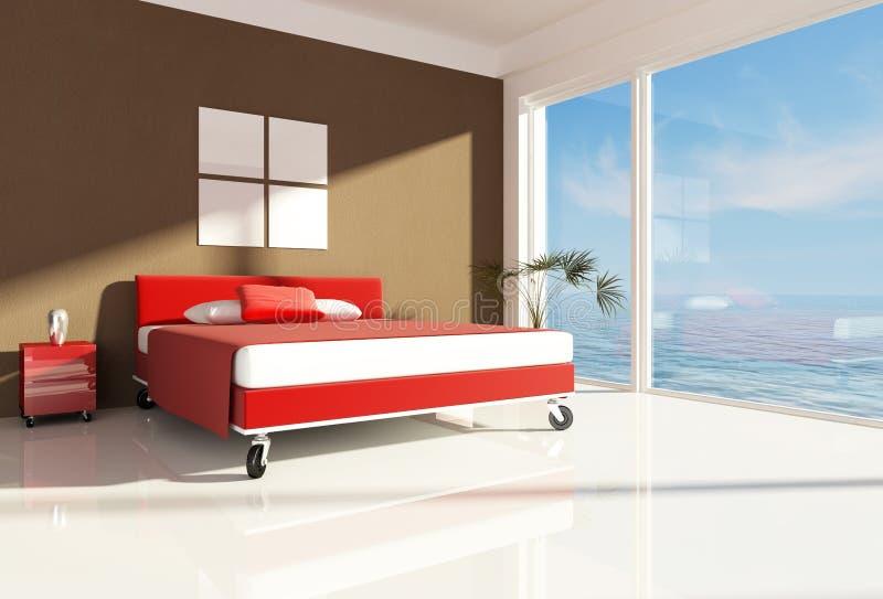 Schlafzimmer nahe dem Meer lizenzfreie abbildung