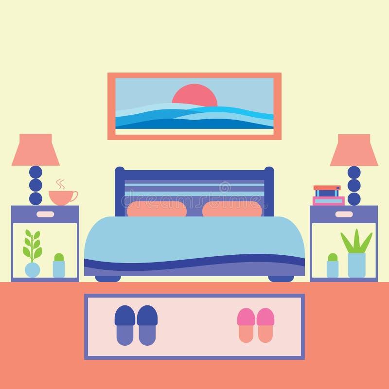 Schlafzimmer-Vektor-Illustration lizenzfreie stockfotografie