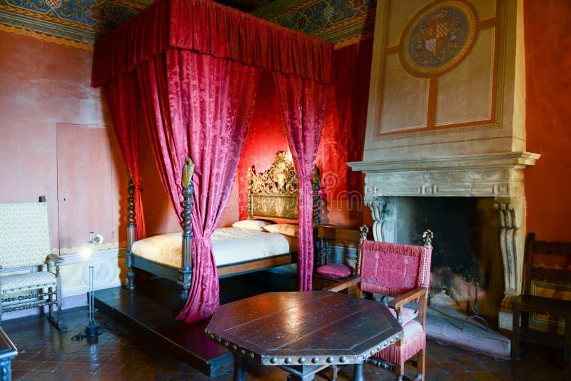 Schlafzimmer von Gradara-Schloss auf Marken, Italien lizenzfreie stockbilder