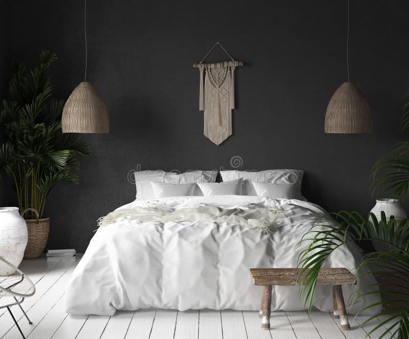 Schlafzimmerinnenraum mit schwarzer Wand, boho Artdekor und weißem Bett vektor abbildung