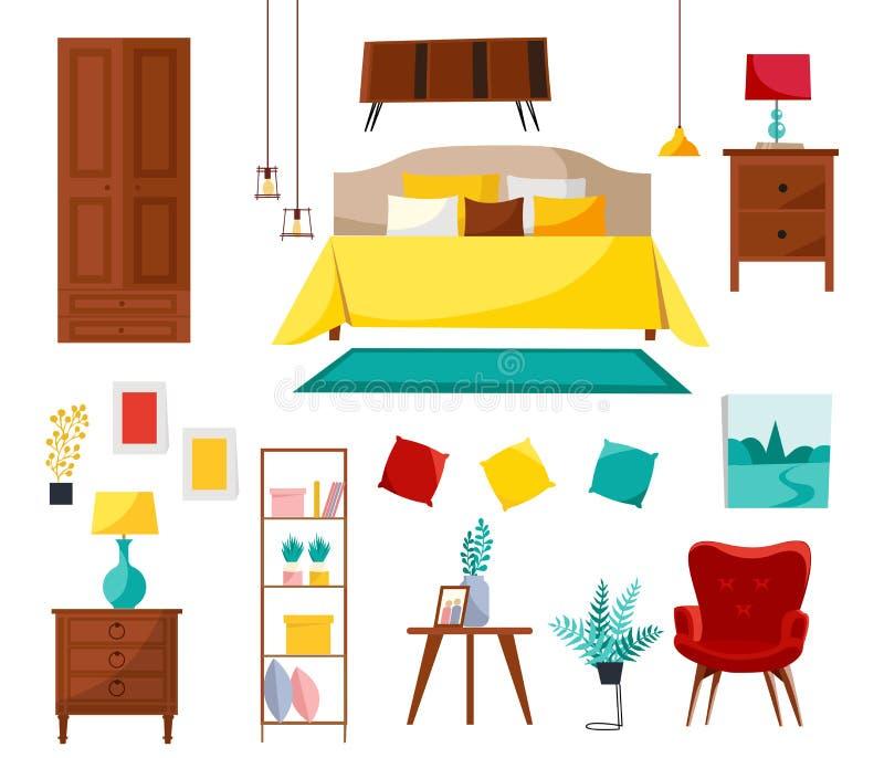Schlafzimmerinnensammlung mit Doppelbett, nightstands, Garderobe, Regal, Lehnsessel, Material Satz Schlafzimmerm?bel modern stock abbildung