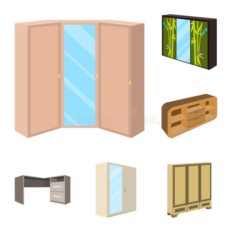 Schlafzimmermöbel-Karikaturikonen in der Satzsammlung für Design Vektorsymbol-Vorratnetz des modernen Holzmöbels isometrisches stock abbildung