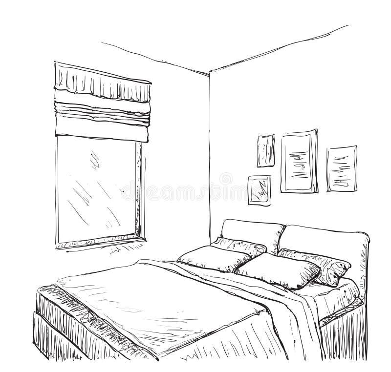 Schlafzimmermoderne Innenskizze lizenzfreie abbildung