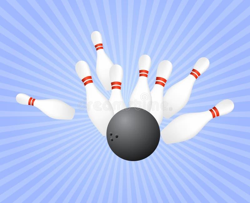 Schlag am Bowlingspiel lizenzfreie abbildung