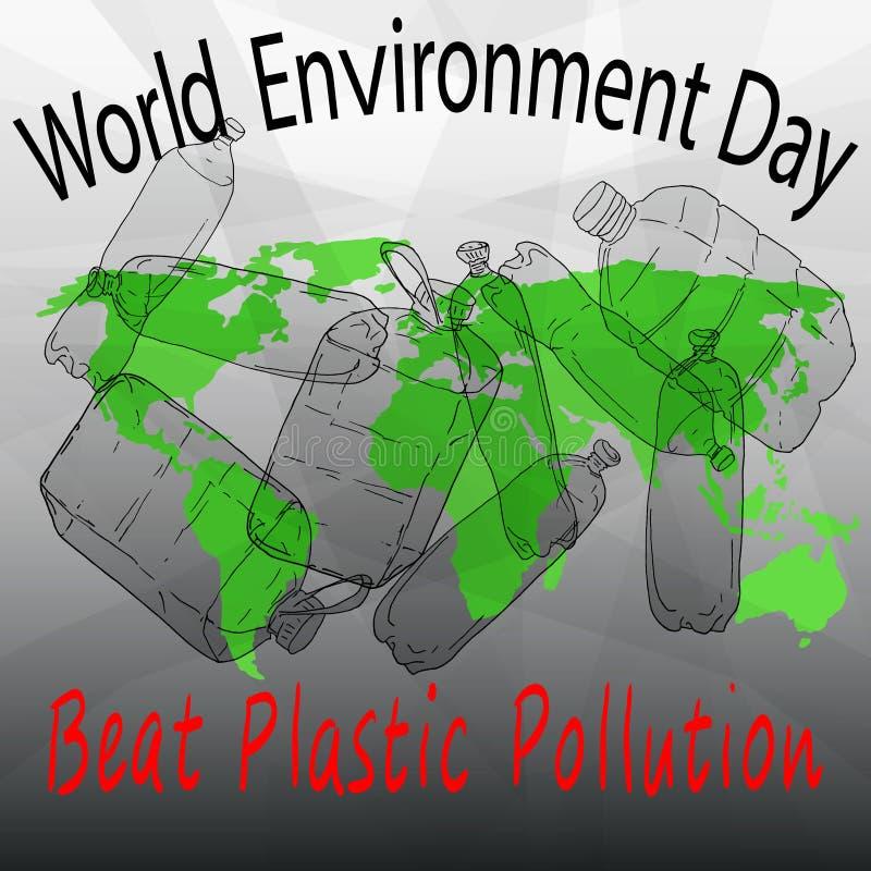 Schlag-Plastikverschmutzung Nette Karte der Welt der Blumen und der feierlichen Fahne mit Basisrecheneinheit und Marienkäfer stock abbildung