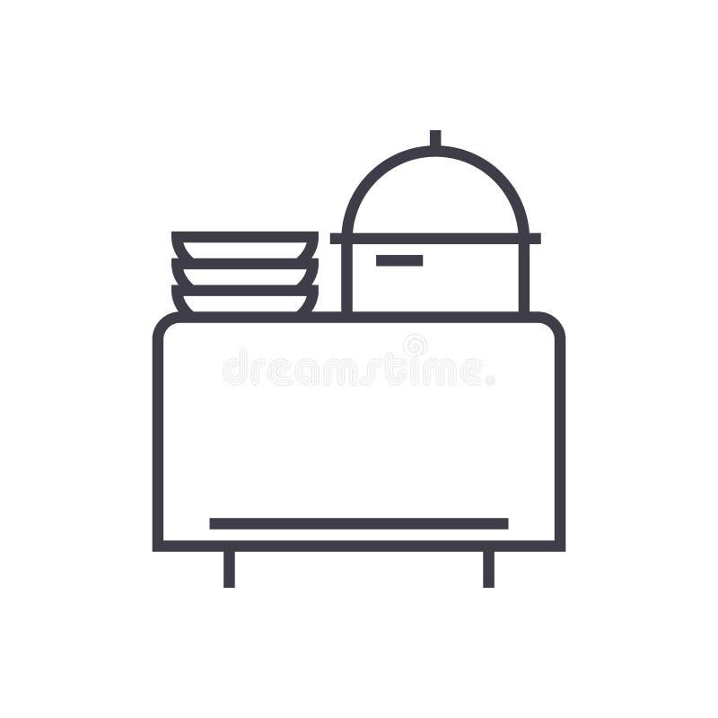 Schlagen Sie in der Restaurantvektorlinie Ikone, Zeichen, Illustration auf Hintergrund, editable Anschläge stock abbildung