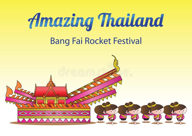 Schlagen Sie fai Raketen-Festivalparade, Glauben an große Schlange, die für Regen für Landwirtschaftstätigkeit betete lizenzfreie abbildung