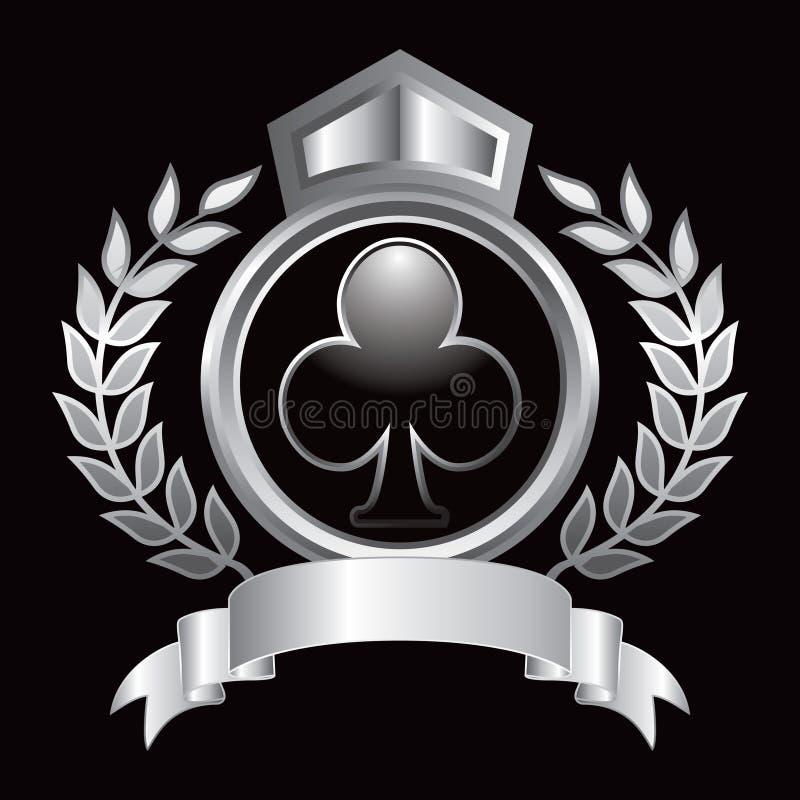 Schlagen Sie königliche Bildschirmanzeige des Spielkarteklage iconin Silbers mit einer Keule vektor abbildung