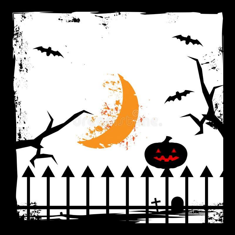 Schlagen Sie, sichelförmiger Mond, Zweige und Kürbis Gespenstische Halloween-Karte flaches Design des Hintergrundes Auch im corel lizenzfreie abbildung
