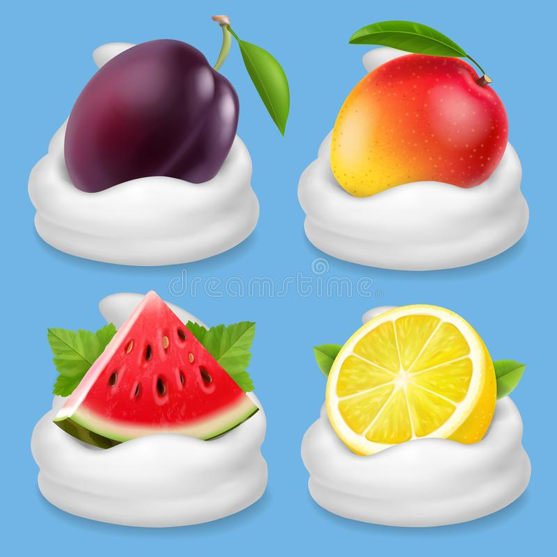 Schlagsahne mit Fruchtvektor-Ikonensatz Wassermelone, Pflaume, Mango, Zitrone lizenzfreie abbildung