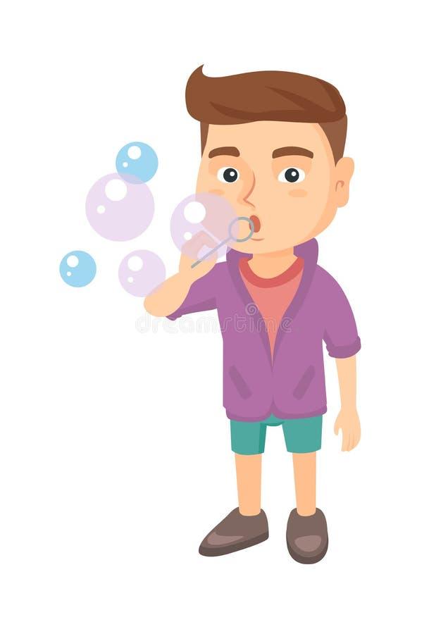 Schlagseifenblasen des kleinen kaukasischen Jungen stock abbildung
