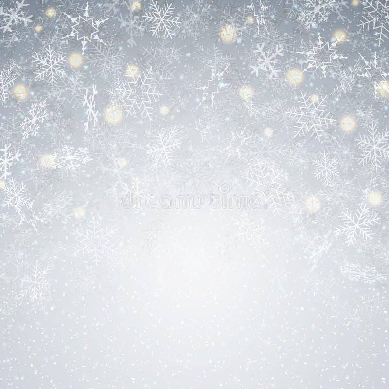 Schlagweihnachtshintergrund mit movment Schneeflocken kopieren Dezember vektor abbildung