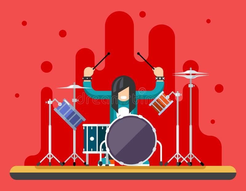 Schlagzeuger-Drum Icons Set-Hardrock-schweres Volksmusik-Hintergrund-Konzept-flache Design-Vektor-Illustration vektor abbildung
