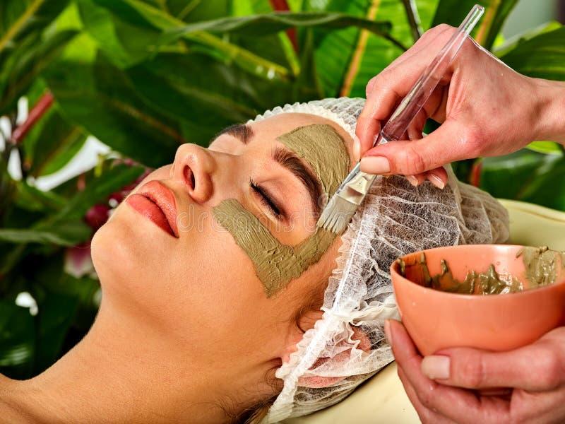 Schlammgesichtsmaske der Frau im Badekurortsalon Gesichtsverfahren lizenzfreies stockbild