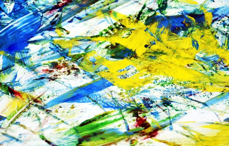Schlammiges weißes rotes gelbes blaues Malerei backround, abstrakter malender Aquarellhintergrund stockfotografie