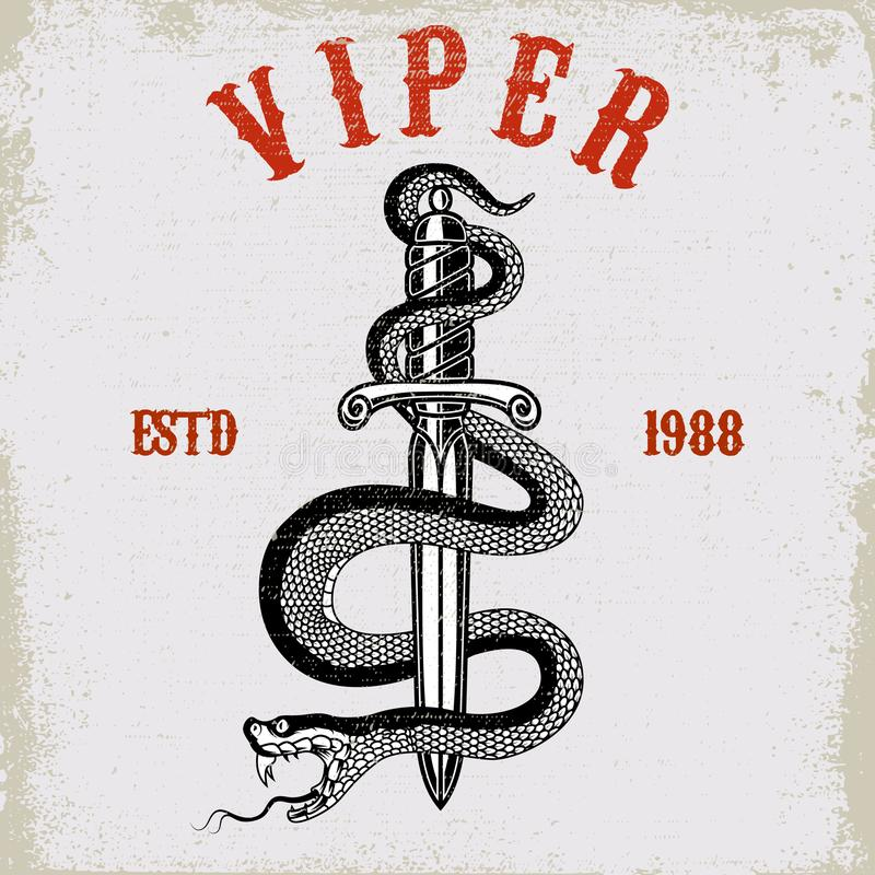 Schlange auf Messer in der Tätowierungsart Gestaltungselement für T-Shirt, Plakat, Karte, Emblem, Zeichen stock abbildung