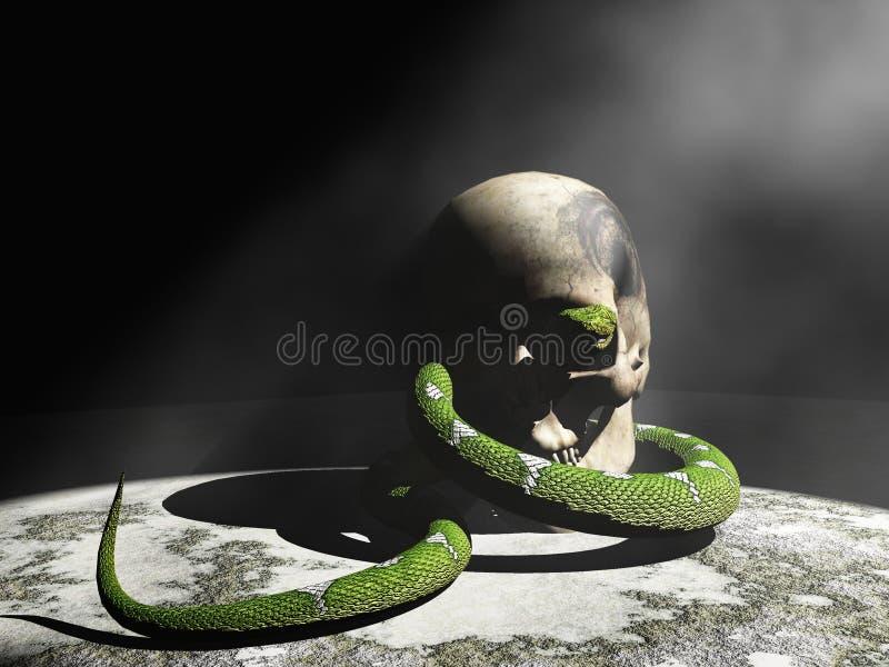 Schlange und Schädel stock abbildung