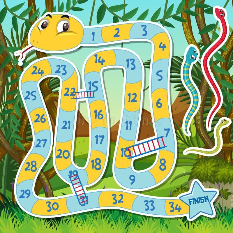 Schlangenleiter-Spielschablone vektor abbildung