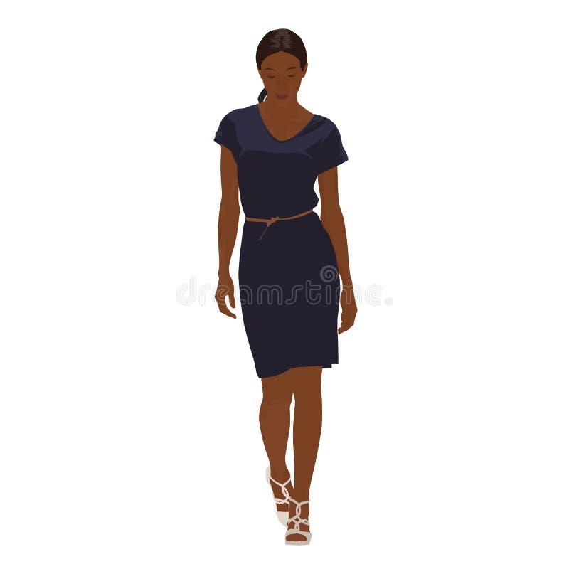 Schlanke junge Frau, die in dunkelblaues Kleid geht vektor abbildung