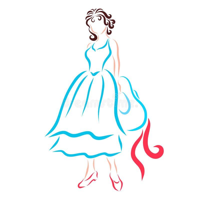 Schlanker Brunette in einem blauen Sommerkleid, Retro- in einem blauen Sommer vektor abbildung